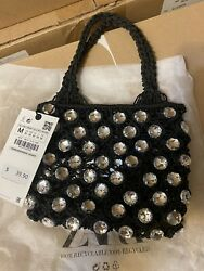 ZARA BEJEWELED MINI BUCKET BAG BLACK NEW WITH TAG $50.00