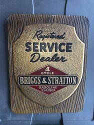 Vintage Briggs And Stratton Approved Service Dealer Sign 4cyl Engine Hit And Miss