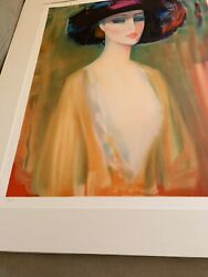 """Itzhak Tarkay On Arches Paper, """"lady With Hat"""", Color Silkscreen, 23/250"""