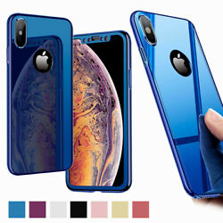 For iPhone XS Max XR XS X 8 7 6 Plus Slim Shockproof with Screen Protector Case