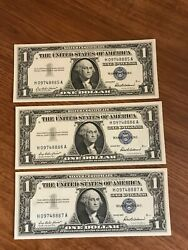 3 Sets Of 3 In Sequence 1957 + A +b  9 Note Lot Last Silver Certificates