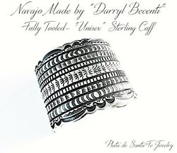 Navajo-darryl Becenti-wide 925 Vintage Revival Tooled Cuff-made For 7-1/4 Wrist