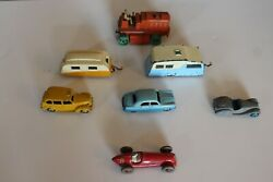 Dinky Toy Lot Of 7 Civilian Toys Including Tractor, Cars, Caravans, And Race Car