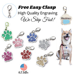 Buy 4 Get 1 Free √ Sparkle Paw Dog Tags Pet Tag Cat Charm Engraved Personalized $4.95