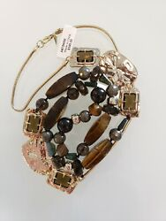395 Alexis Bittar Lucite, Crystal, Labradorite Statement Beaded Long Necklace