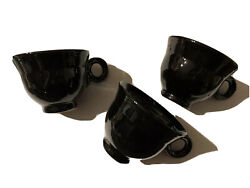 Set Of Three Jet Black Mikasa Moderna Footed Coffee Cups Style Discontinued