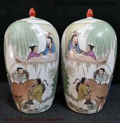 Rare China Ancient Dynasty Porcelain People Cattle Tree Flower Bottle Vase Pair