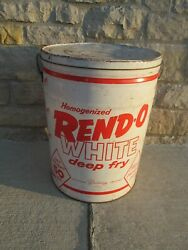 Vtg Shortening Tin Can 50 Lbs. Rend-o-white Deep Fry Detroit, Mi White And Red