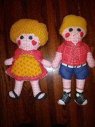 Raggedy Anne And Andy Plush 20 Dolls Vintage Rare