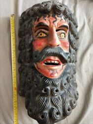 Vintage Wood Catrin Mask - Tlaxcala Carnival - Mexico