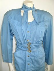 Thierry Mugler Baby Blue Cotton Dress Vintage 1980and039s French Size 38 Usa 8