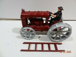Vintage Arcade Type Cast Iron Toy Farm Tractor Fordson Red Silver 6 W/ Ladder