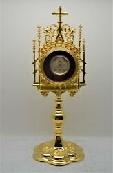 + Ornate Gold Plated Reliquary With 4 Relics Of Jesuit Saints + 13 1/2 Cu720