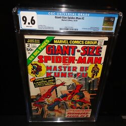 Giant-size Spider-man 2 Shang-chi Master Of Kung Fu Cgc 9.6 White Pages 1974