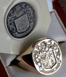 18ct Gold Extra Large Oxford Bull Signet Ring With Coat Of Arms Seal Engraved