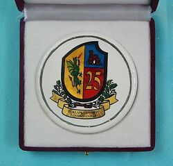 Vintage Serbian Serbia Military Army Porcelain Table Medal And Box