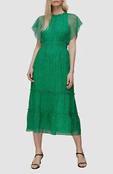 567 Whistles Women's Green Floral Short Sleeve Midi A-line Shift Dress Size 10