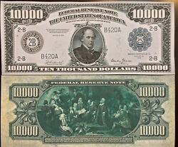Reproduction Copy 1918 $10000 Federal Reserve Note Currency US See Description