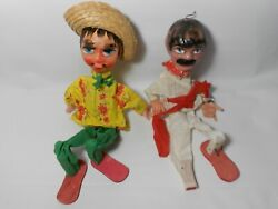 Lot Of 2 Vintage Mexico Mexican Paper Mache Marionette Dolls Free Shipping