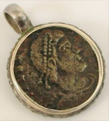 Antique Sterling Silver Pendant With Ancient Roman Or Greek Coin Numismatics