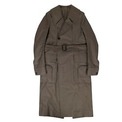 Nwt Rick Owens Dust Cotton Woven 'della' Long Trench Coat Size 44/54 3640