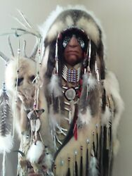 7' Tall Native American Indian In Full Dress And Headdresscigar Store Stunning