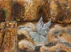 Tifara Judaica Original Oil Painting On Canvas A Dove At The Western Wall