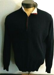 Menand039s Navy Blue Cashmere 1/2 Zip Pullover Sweater Eur 56 Rare
