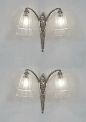 Maynadier Pair Of French 1925 Art Deco Wall Sconces ....... Muller 1930 France