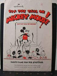 Vintage Hallmark Pin The Tail On Mickey Mouse Game