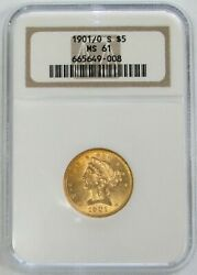 1901/0 S Gold Us 5 Liberty Head Half Eagle Coin Ngc Mint State 61