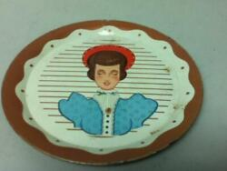 Vintage Dollhouse 5-inch Tin Decorative Plate With Portrait Of A Lady