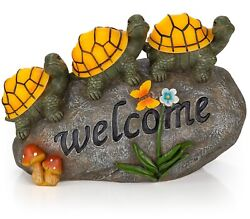 Welcome Turtles on a Rock Solar Powered LED Outdoor Decor Garden Light