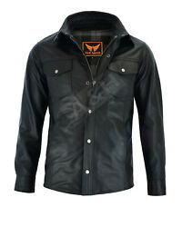 Mens Classic Snap Top Grain Cowhide Leather Shirt With Gun Pocket Zip Out Lining