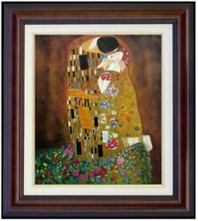 Framed Gustav Klimt The Kiss Repro Quality Hand Painted Oil Painting 20x24in