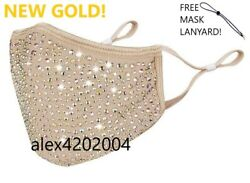 NEW GOLD bling face mask Bedazzled Diamond Rhinestone Sparkle with filter $21.99