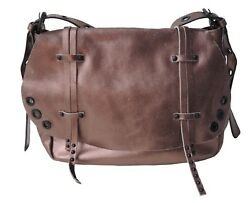 Sharif Genuine Leather Metallic Bronze Messenger With Grommet And Stud Detail