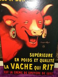 Laugh Cow Laughing Dairy Cheese Cow Vtg French Advertising Canvas Wall Art Decor
