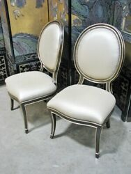 Pair Marge Carson Samba Side Chairs Metallic Gold Upholstery Mint Unused