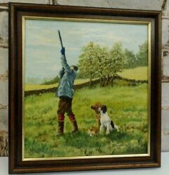 Vintage Painting Farming Country Scene Gun Dogs Ready To Hang