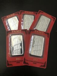 2013 Silver Pamp Suisse 1 Oz Bar 5 Bars Lunar Year Of Snake In Assay