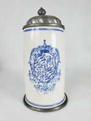 Antique Armorial German Dutch Pewter Mounted Faience Stein With Crown Crest Lion