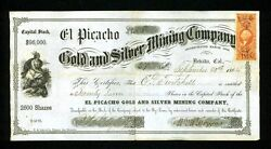 1864 Nevada City California El Picacho Gold And Silver Mining Co Stock Certificate