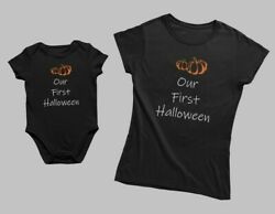 Our First Halloween Matching Set Tee T-shirt Baby Bodysuit Gift For Mom Mama