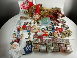 Vintage Christmas Ornaments Mixed Lot Santa Elf And Much More