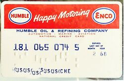 1968 Humble Enco Happy Motoring Service Station And Gas Card