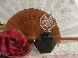 Signed Black And Clear Czech Glass Perfume Bottle, Stopper W/roses, No Dauber