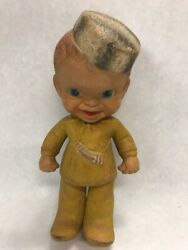1940's Baby Davy Crockett Rempel Rubber Toy Doll Antique Childs Squeaky Baby