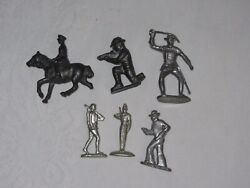 Lot Of 6 Vtg Metal Military Army Men Figure Miniature Lead Pewter J Hill England