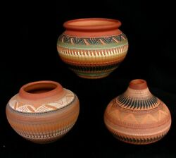 3 Navajo Pots Pottery Incised Feathers Ada Morgan Ps Dine Nice Lot